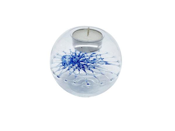 Teelicht m. Netz groß, blau