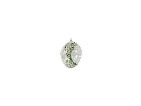 Eier klein, klar mit verdrehtem Netz grün