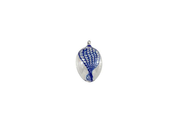 Eier klein, klar mit verdrehtem Netz blau