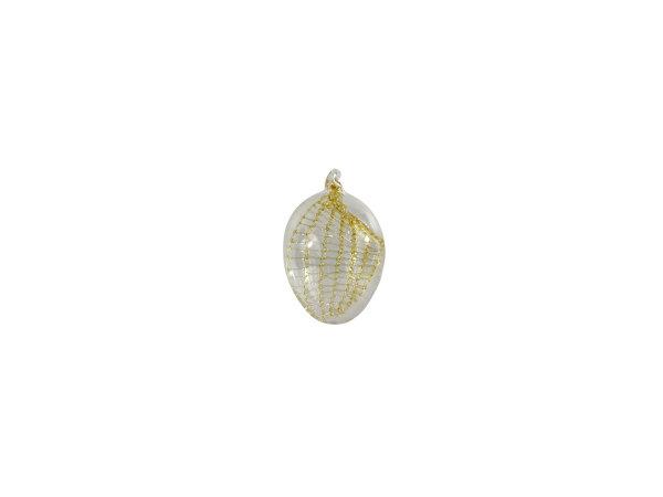 Eier klein, klar mit verdrehtem Netz gold