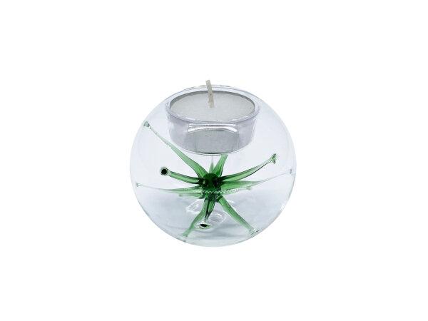 Teelicht m. Stern klein, grün